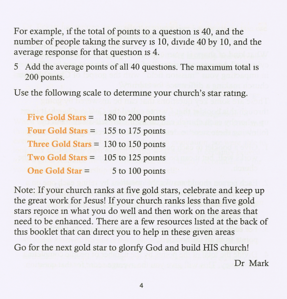 Gold Star Church Book Sample Page